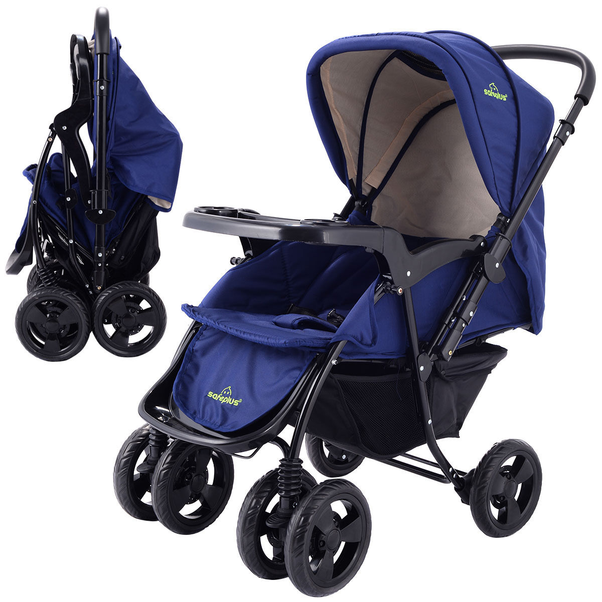 foldable two way stroller baby newborn infant kids travel buggy pushchair blue ebay. Black Bedroom Furniture Sets. Home Design Ideas
