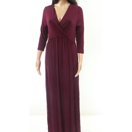 Plum Women's Large Solid Surplice Maxi Dress L (Plumb Dress)
