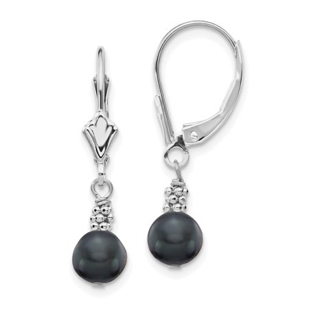 Cultured Freshwater Pearl Leverback Earrings (14k White Gold 6mm Black Semi Round Freshwater Cultured Pearl Leverback Earrings Lever Back Drop Dangle Gifts For Women For)