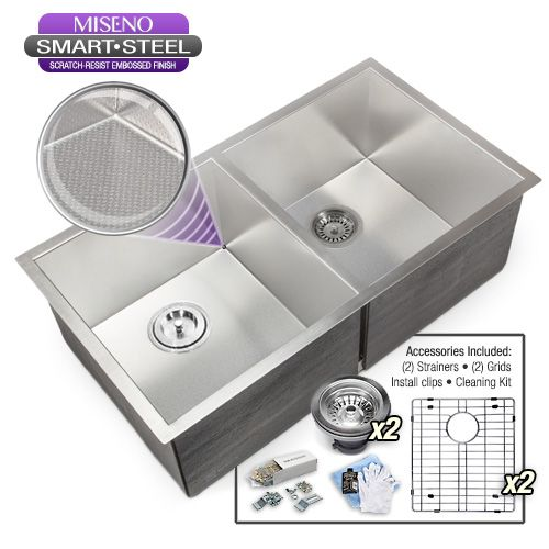 "Miseno MSS3218SR5050E 32"" Undermount Double Basin Stainless Steel Kitchen Sink w"
