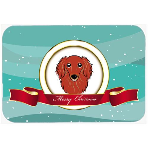 East Urban Home Longhair Dachshund Merry Christmas Glass Cutting Board