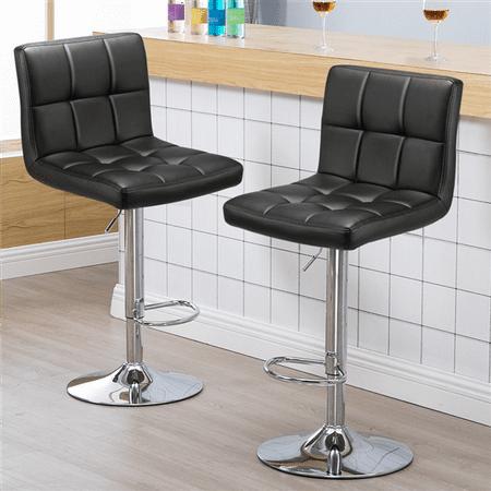 Yaheetech Set of 2 Square PU Leather Adjustable Bar Stools Back Counter Height Swivel Stool Swivel Armless(Black)