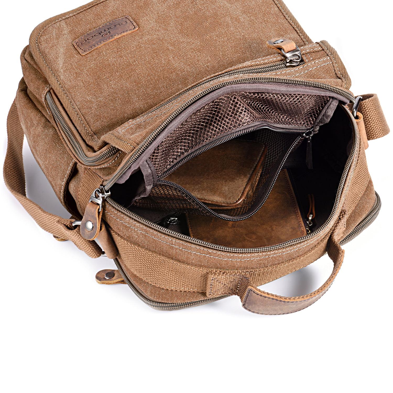 Plambag Canvas Messenger Bag Small Travel School Crossbody Bag Coffee