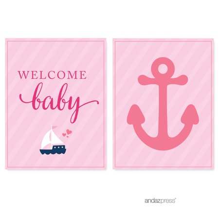Pink Girl Nautical Baby Shower Party Signs & Banner Decorations, 20-Pack