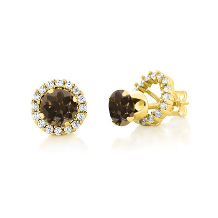 1.60 Ct Round 6mm Brown Smoky Quartz 18K Yellow Gold Plated Silver Stud Earrings