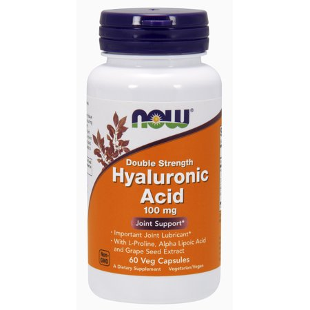 NOW Supplements, Hyaluronic Acid 100 mg, Double Strength with L-Proline, Alpha Lipoic Acid and Grape Seed Extract, 60 Veg Capsules (Dlpa 60 Capsules)