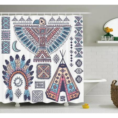 Ebern Designs Iris Tribal Indian Teepee Tent Eagle Symbol Moon Sun