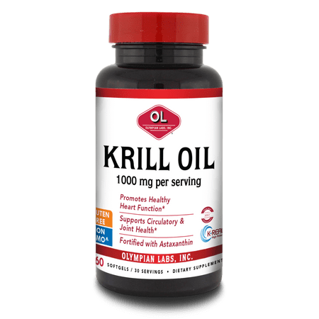 Olympian Labs Krill Oil Softgels, 1000 Mg, 60 Ct (Taking Krill Oil And Fish Oil Together)
