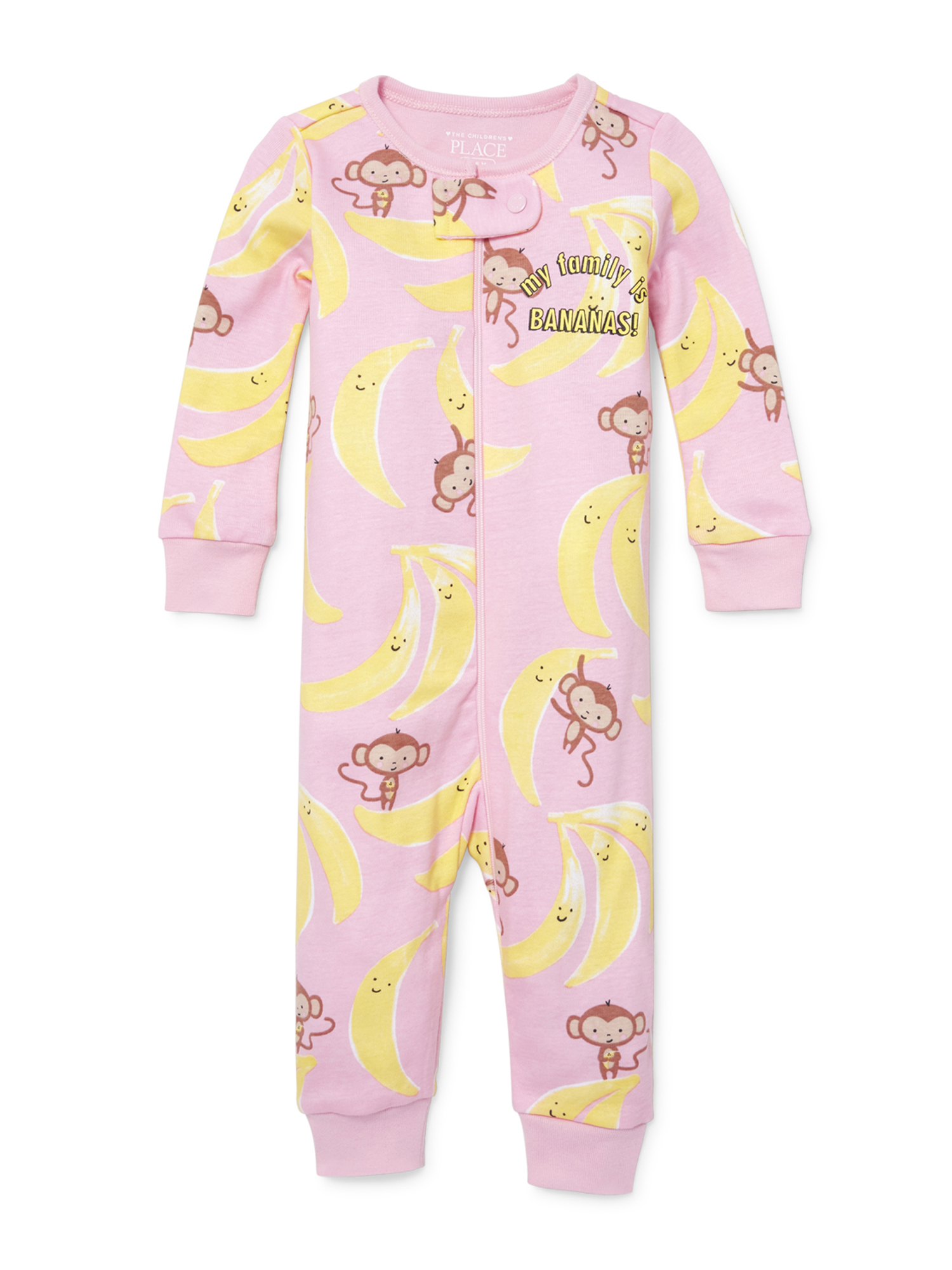 Baby And Toddler Girls 'My Family is Bananas' Monkey Print Stretchie (Baby and Toddler Girls)
