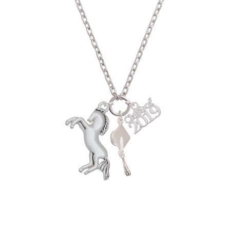 Silvertone Large Rearing Horse - Class of 2019 Graduation Zoe Necklace
