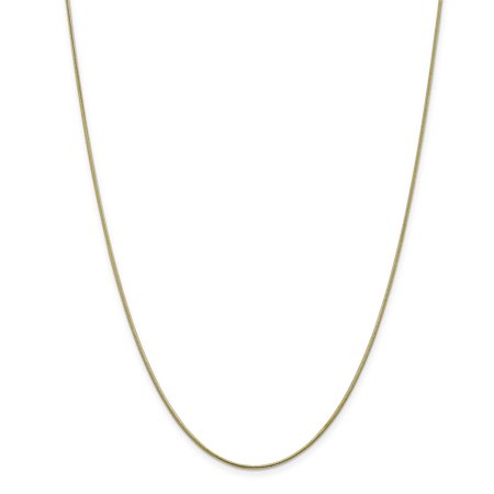 - 10K Yellow Gold 1.1 MM Round Snake Link Chain Necklace, 24