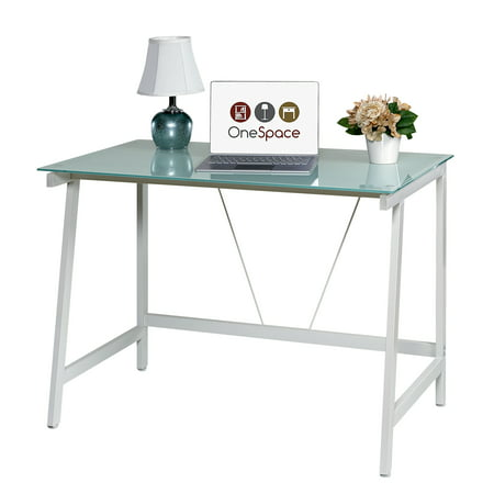 Blue Glass Desk - OneSpace 50-HD0107 Contemporary Glass Writing Desk, Steel Frame, White and Cool Blue