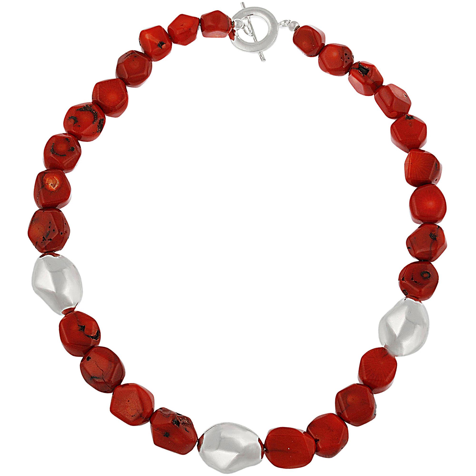 Coral and Silver Nuggets Sterling Silver Station Necklace, 16""