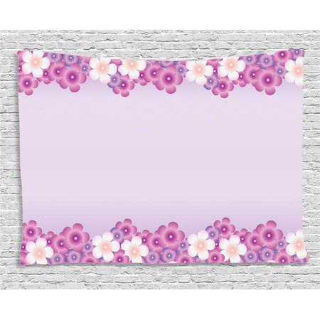 Mauve Decor Tapestry, Feminine Floral Petals in Purple Tones Spring Season Blooms Beauty Fragrance Artwork, Wall Hanging for Bedroom Living Room Dorm Decor, 80W X 60L Inches, Pink, by Ambesonne