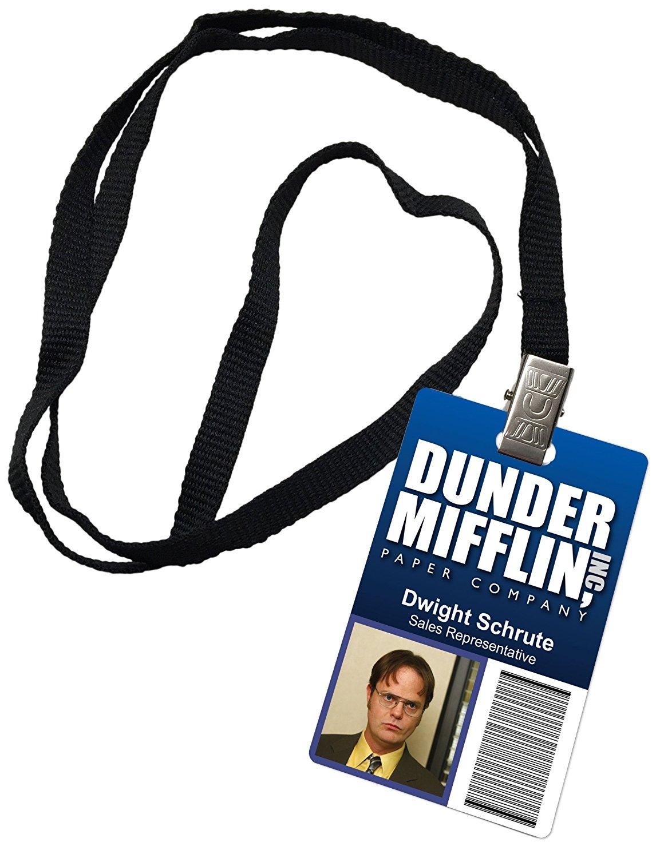 dwight schrute dunder mifflin inc novelty id badge the office prop