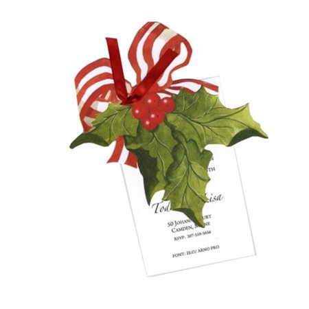 Stevie Streck Designs HW732WBOX Holly With Bow With Red Ribbon Tag with Clear Glitter - Pack of 3