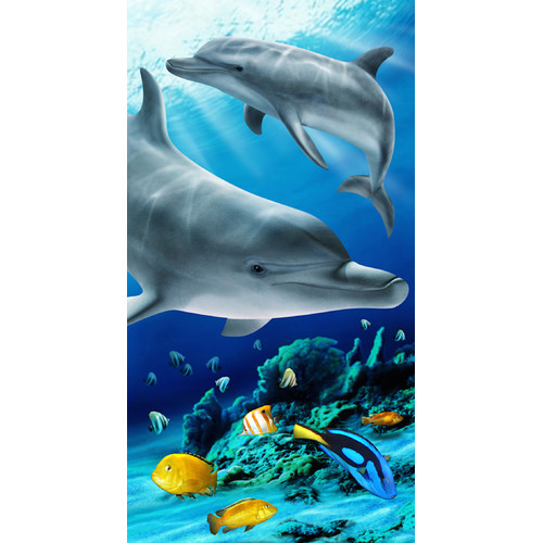 Kaufman Sales Tropical Dolphin 100pct Cotton Beach Towel