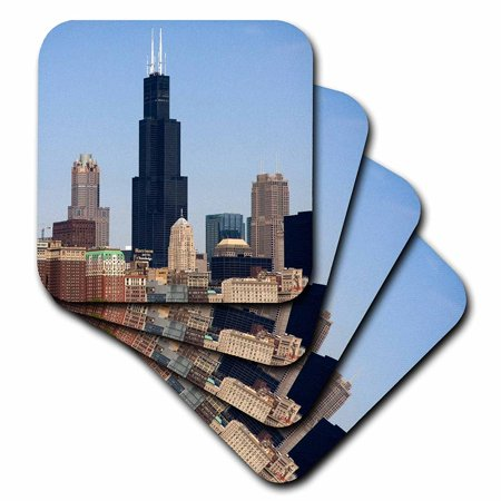 3dRose Willis and Sears Tower, Chicago River, IL - US14 DFR0095 - David R. Frazier, Soft Coasters, set of
