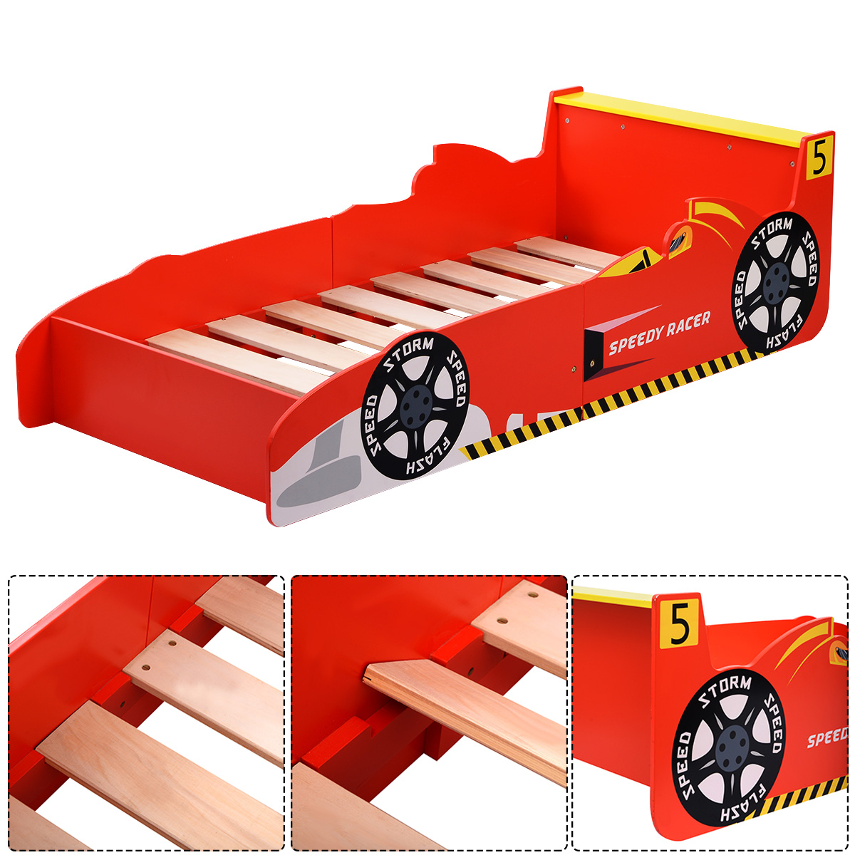 New Kids Race Car Bed Toddler Bed Boys Child Furniture Red Wooden
