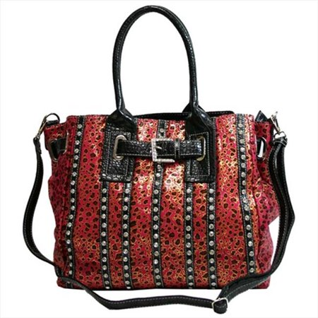 - Ritz Enterprises MS105-RS-Leopard Womens Belted Leopard Print Fashion Tote Bag Striped With Rhinestones, Rose