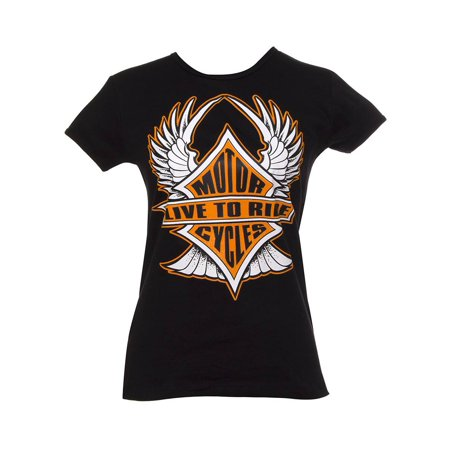 (Womens Live to Ride Motorcycles Black T-Shirt)