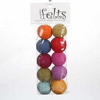 10 Hand-felted Wool Felt Balls 3 CM Multi Color Mix Handbehg Fiber Crafts, 100% Wool By Handbehg Felts Ship from US