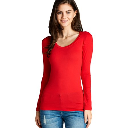 0e6081fe SNJ - Women's Long Sleeve Scoop Neck Fitted Cotton Top Basic T Shirts-Plus  Size Available (FAST & FREE SHIPPING) - Walmart.com