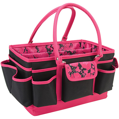 Mackinac Moon Open Top Craft Tote, Black With Pink Floral