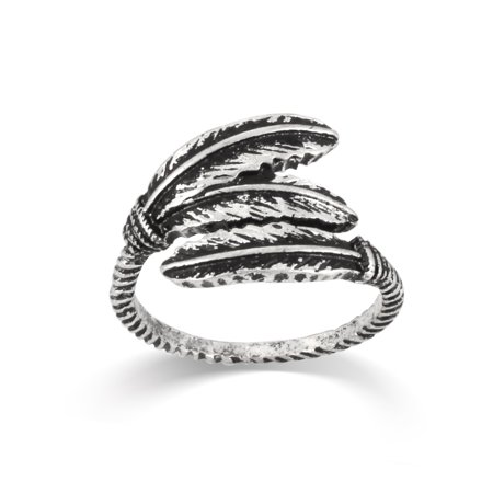 WOMEN'S ANTIQUE LOOK VINTAGE BOHO SILVER FEATHER WRAP SIZE 8 RINGS ()