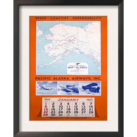 Pacific Alaska Airways Airline Poster Framed Art Print Wall Art  - (Pacific Airlines)