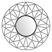 Walker Edison Round Geometric Frame Wall Mirror with Gold Accents - 35W x 35H in.