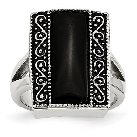 Chisel Stainless Steel Women's Black Onyx Antiqued Rectangular Ring, Size 6 (Onyx Antique Ring)