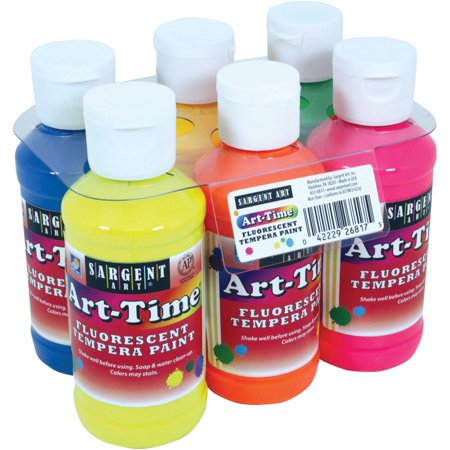 Brush Tempera Paint Tube - Sargent Art Fluorescent Assorted Colors Tempera Paint, 6 Count