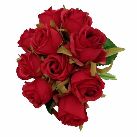 12 Heads Artificial Fake Silk Flowers Valentines Day Vivid Roses