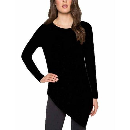 Ladies' Asymmetrical Sweater Black, Medium, 58% Viscose,27% Polyester,12% Nylon,3% Wool By Matty M (Viscose Nylon)