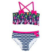 Pink Platinum Baby Girls Colorful Flowers and Wave Stripes 2Pc Bikini Swimsuit