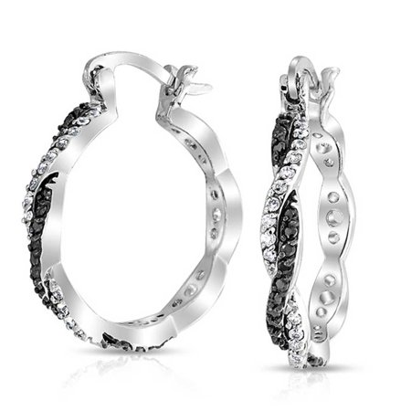 Black & White Pave (Black White Spiral Infinity Twist Cubic Zirconia Pave CZ Prom Fashion Hoop Earrings For Women Silver Plate Brass 1.5 In)