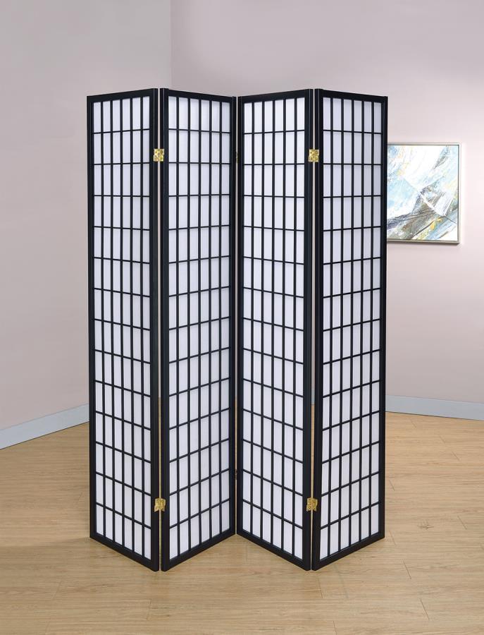 Coaster Company 4-Panel Black Frame Room Divider Folding ...