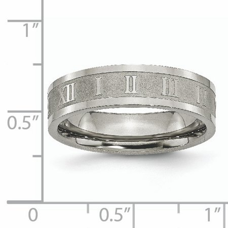 Titanium Roman Numerals 6mm Flat Wedding Ring Band Size 13.00 Designed Fashion Jewelry Gifts For Women For Her - image 1 de 10