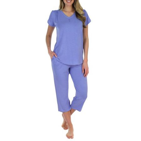 Pajama Heaven Women's Sleepwear Bamboo Jersey V-Neck and Capri Pajama PJ