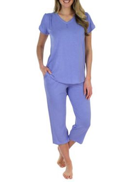 5dbcb5f325 Product Image Pajama Heaven Women s Sleepwear Bamboo Jersey V-Neck and  Capri Pajama PJ Set