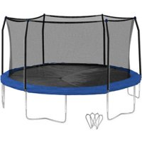 Skywalker 16 ft. Round Trampoline and Enclosure with Wind Stakes - Blue