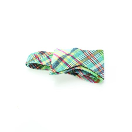 Ted Baker NEW Green Pink Mens One Size Textured Plaid Linen Bow Tie (Green Bow Ties)