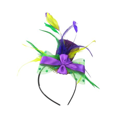 Mardi Gras Mini Top Hat Headband Green/Yellow/Purple Feathers Costume - Mardi Gras Accessories