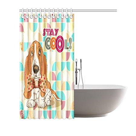 YUSDECOR Dog Hipster Shower Curtain Waterproof Bath Curtain Decor 66x72 inch - image 2 of 2