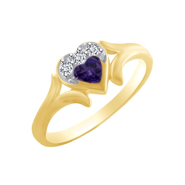 Heart Shape Simulated Alexandrite & White Cubic Zirconia Heart Promise Ring In 14k Yellow Gold Over Sterling Silver Ring Size-5.5