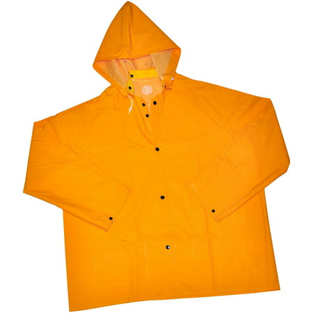 G & F Heavy-Weight 35mm PVC Over Polyester Rain Coat with Hood, 32