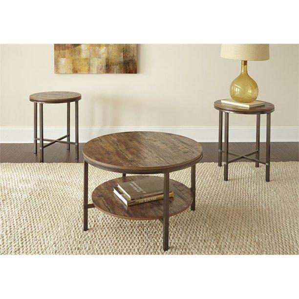 Steve Silver Sedona 3 Piece Round Wood And Metal Coffee Table Set In Brown Walmart Com Walmart Com
