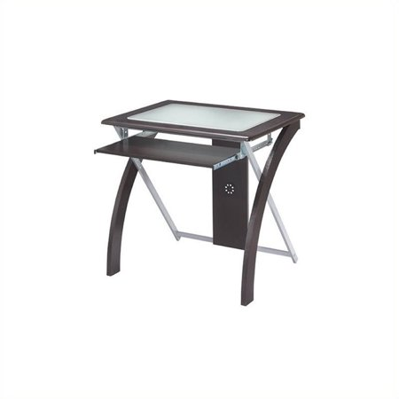 Scranton & Co Computer Desk with Silver Accents in Espresso - image 1 of 2