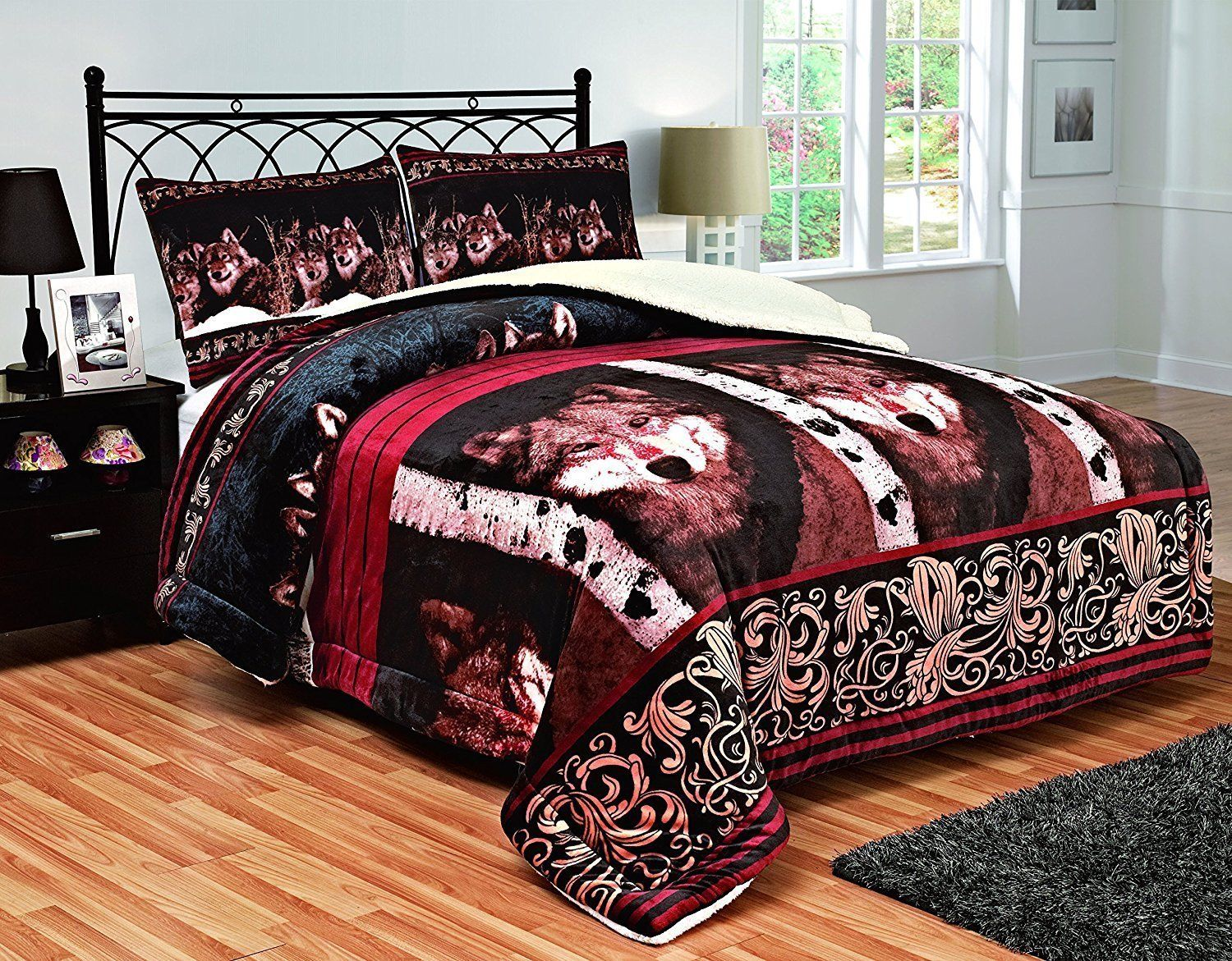 Fancy Linen 3pc King Blanket Sumptuously Soft Plush Wolf Face Burgundy Brown New by Fancy Linen